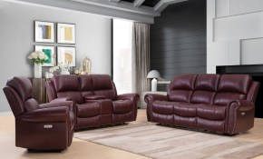 Garris 3 Piece Top Grain Leather Power Reclining Set for 3 Piece Leather Living Room Set