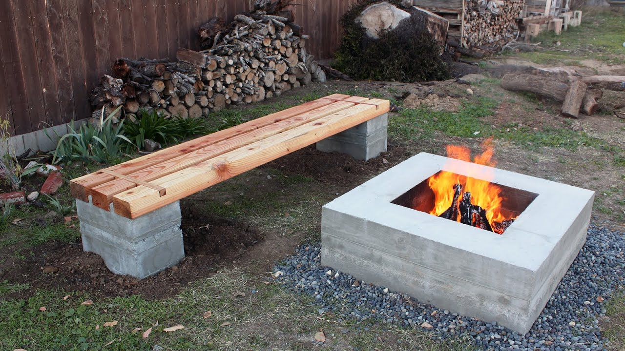How To Make Outdoor Concrete And Wood Bench Youtube in Backyard Bench Ideas