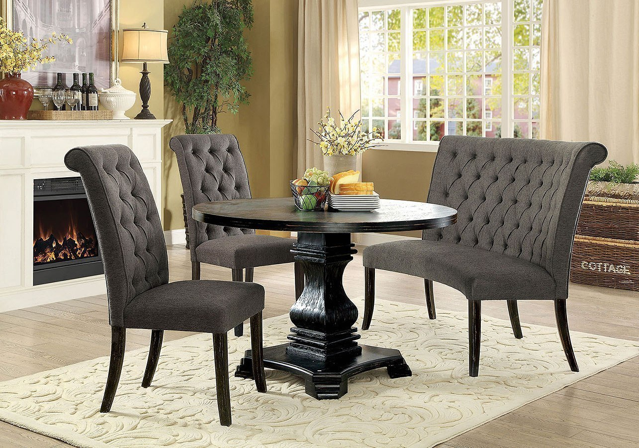 Nerissa Round Dining Room Set W Gray Chairs Antique Black pertaining to Antique Living Room Set