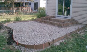 Poured Concrete Patio Designs Patio And Steps Were Framed And within Concrete Patio Ideas Backyard