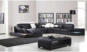 Shop Black And White Modern Contemporary Real Leather Sectional inside White Leather Living Room Set