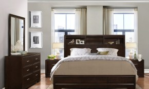 Shop Montana Walnut Modern 4 Piece Wood Bedroom Set With Queen Bed in Modern Queen Bedroom Sets