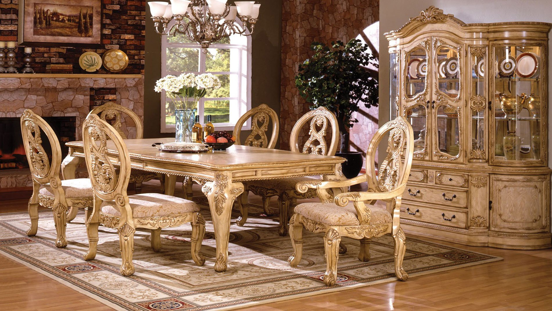 Tuscany Ii Dining Room Set Antique White Furniture Of America intended for Antique Living Room Set