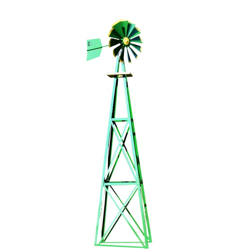 138 In Large Green And Yellow Powder Coated Backyard Windmill throughout Decorative Backyard Windmill