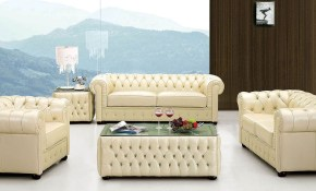 258 Ivory Leather Living Room Set Esf Furniture Furniturepick pertaining to 15 Some of the Coolest Initiatives of How to Craft Living Room Leather Sets