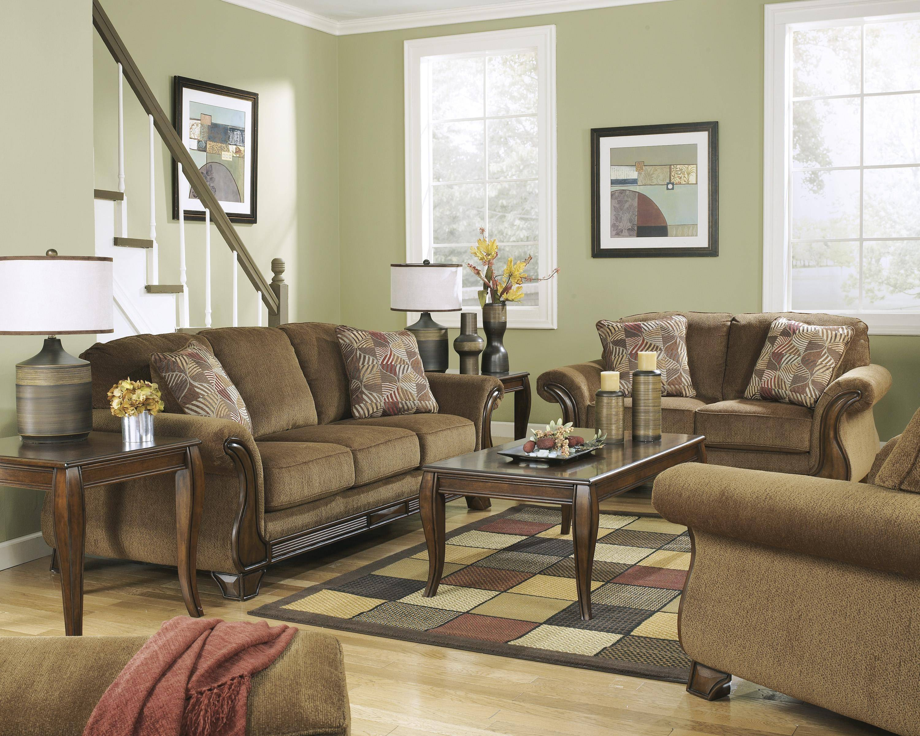 Ashley Montgomery 3 Piece Living Room Set In Mocha 38300 38 35 20 pertaining to Buy Living Room Set