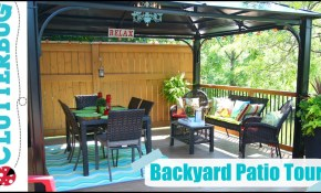 Backyard Patio Decorating Ideas Tips And Tour Youtube within 12 Clever Tricks of How to Build Decorating A Backyard