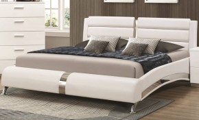 Coaster Furniture Felicity Glossy White Wood King Bed The Classy Home throughout King Size Bedroom Sets Modern