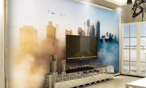 Custom Wallpaper 3d Modern City In Creative Dreamy Clouds Living with Modern Bedroom Wallpaper