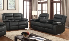 Layla 2 Pc Black Faux Leather Living Room Reclining Sofa And regarding 14 Genius Ideas How to Craft Living Room Sets Walmart