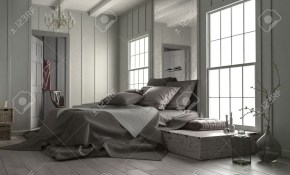 Modern Bedroom Interior With Large Mirror Above The Double Bed with Modern Bedroom Mirrors