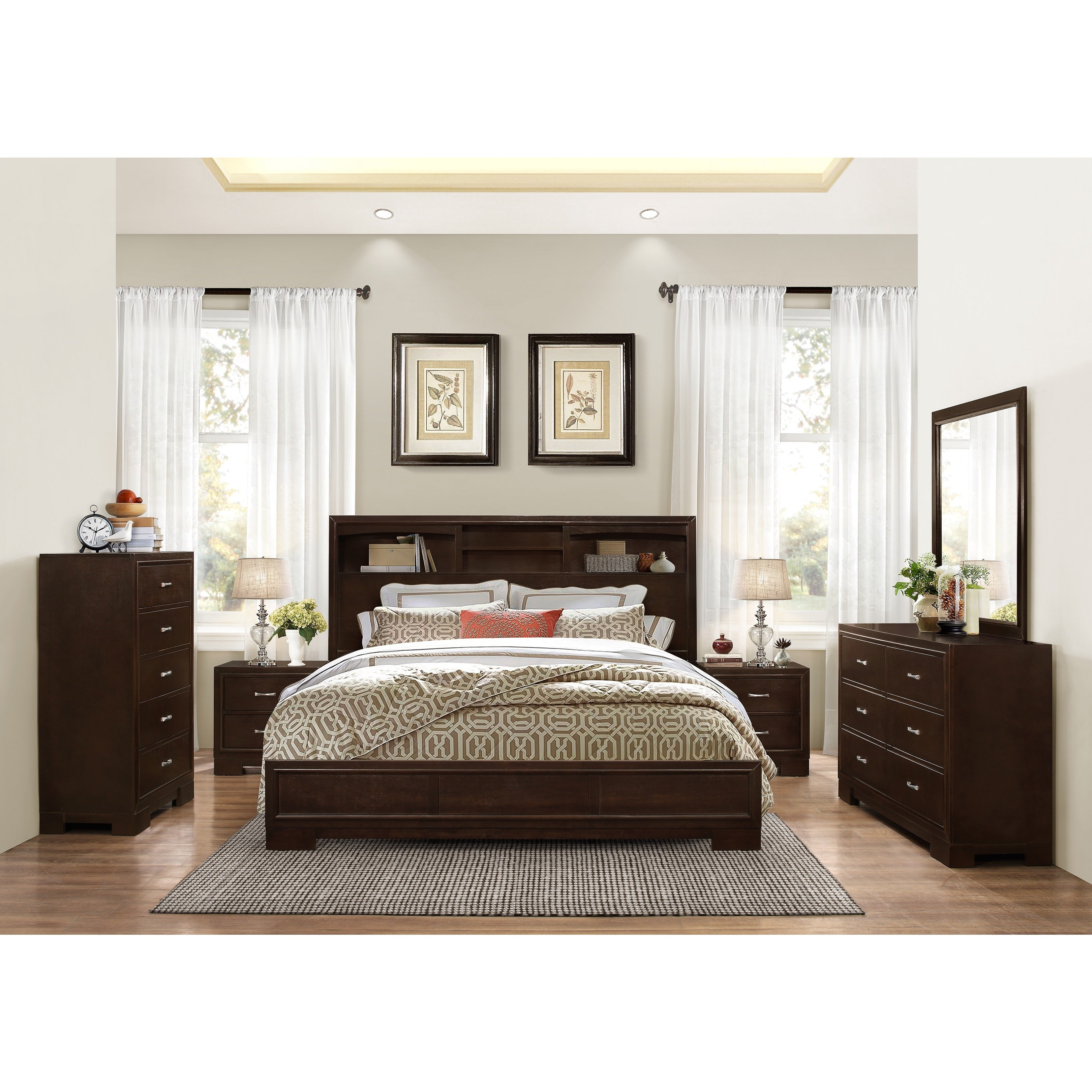 Montana Walnut Modern 4 Piece Wood Bedroom Set With King Bed Dresser Mirror 2 Nightstands Chest pertaining to Modern King Bedroom Sets