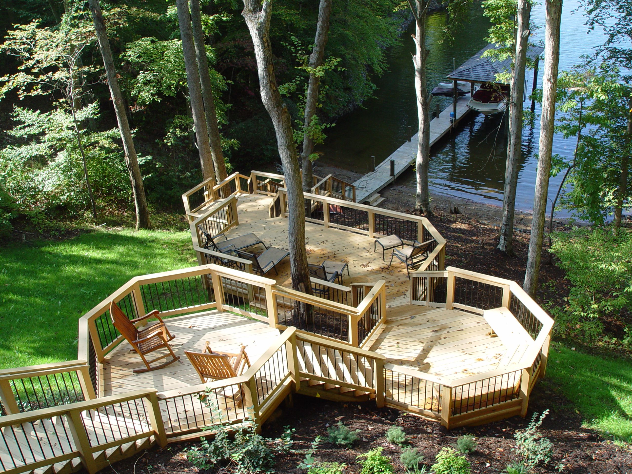 Multilevel Lakeside Deck Design Ideas Archadeck Outdoor within Sloped Backyard Deck Ideas