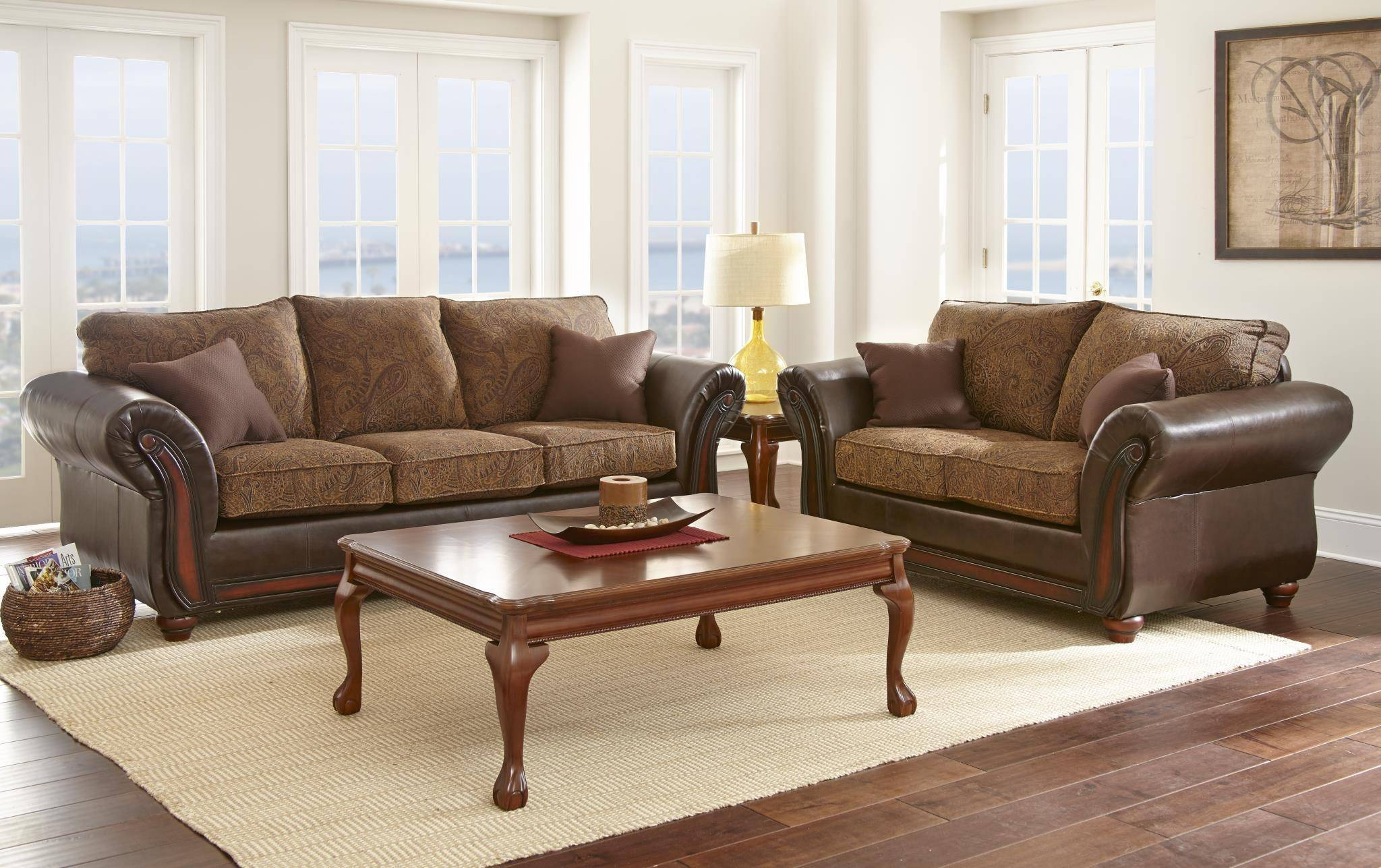 Myco Furniture Brigam Classic Dark Brown Leather Fabric Living regarding Tan Leather Living Room Set