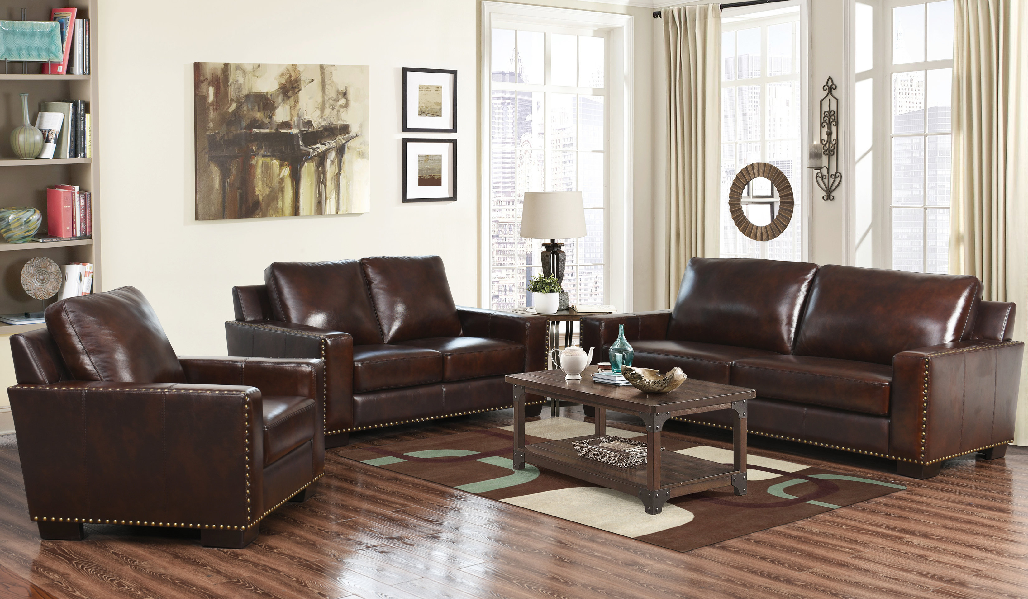 Red Barrel Studio Portsmouth 3 Piece Leather Living Room Set Wayfair with Italian Leather Living Room Sets