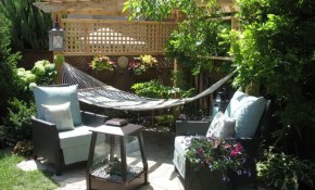 Small Backyard With Lattice And Hammock In 2019 Landscaping regarding Backyard Hammock Ideas