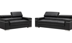 Soho Italian Leather Living Room Set Black Jm Furniture in Italian Leather Living Room Sets