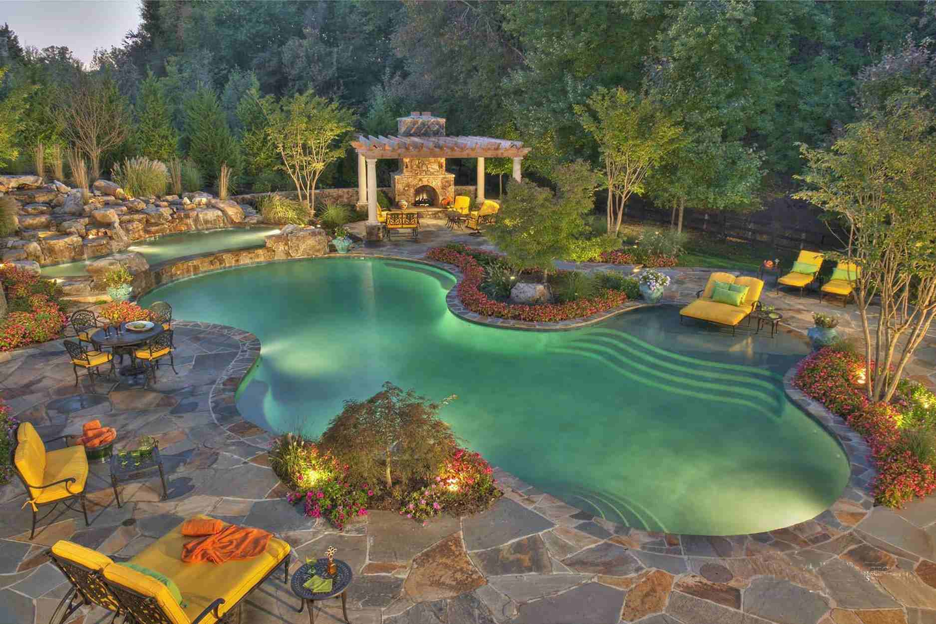 24 Beautiful Mediterranean Pool Designs inside 13 Some of the Coolest Initiatives of How to Craft Landscaped Backyards With Pools