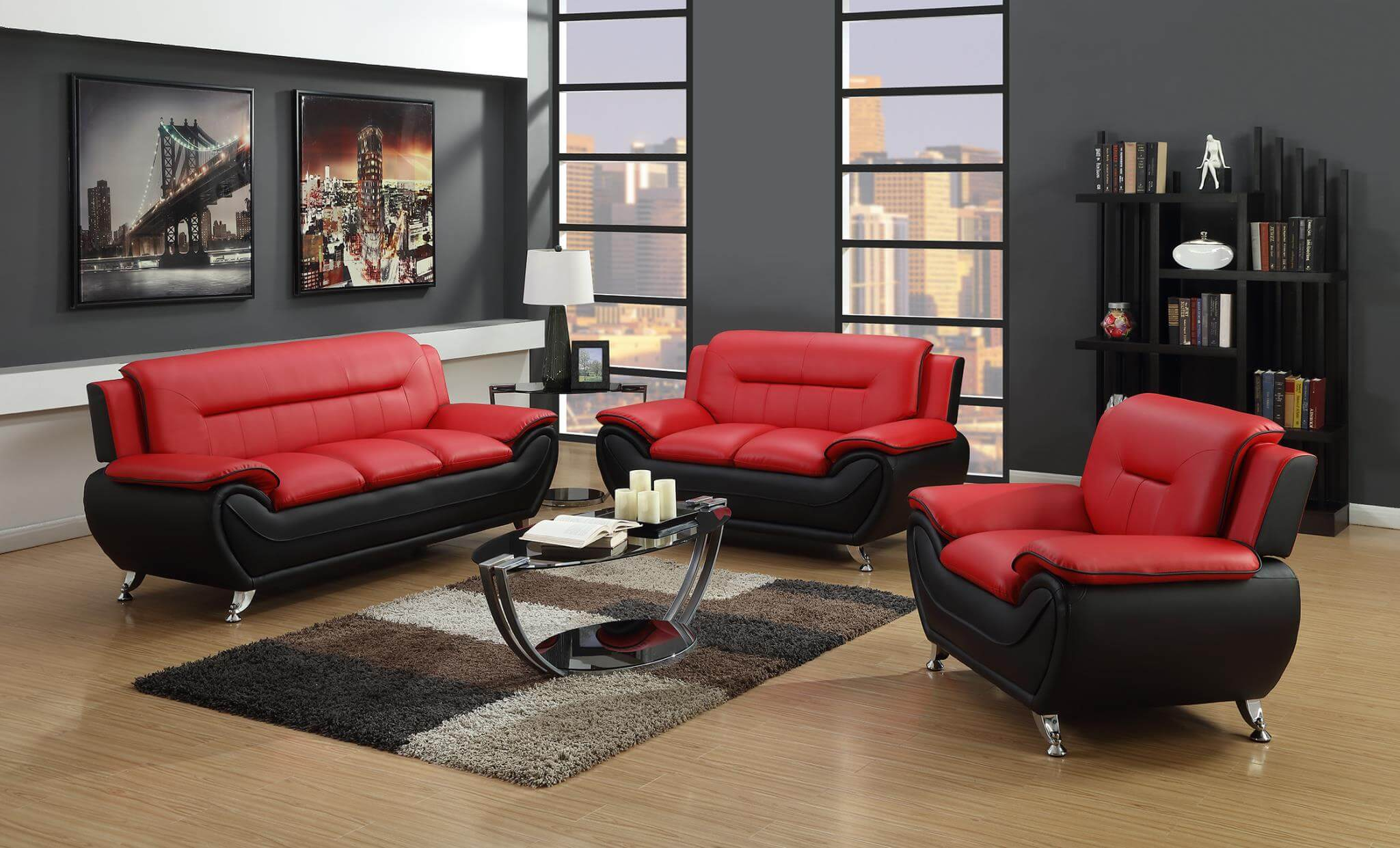 2705 Redblack Living Room Set intended for 10 Clever Tricks of How to Makeover Cheap Leather Living Room Sets