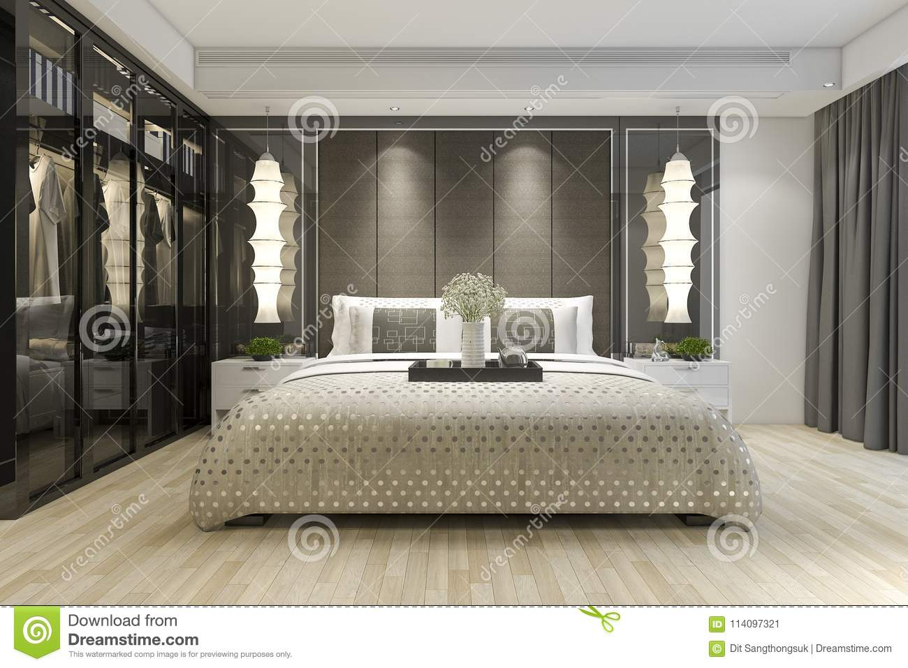 3d Rendering Luxury Modern Bedroom Suite Tv With Wardrobe And Walk throughout 13 Genius Ways How to Build Luxury Modern Bedroom