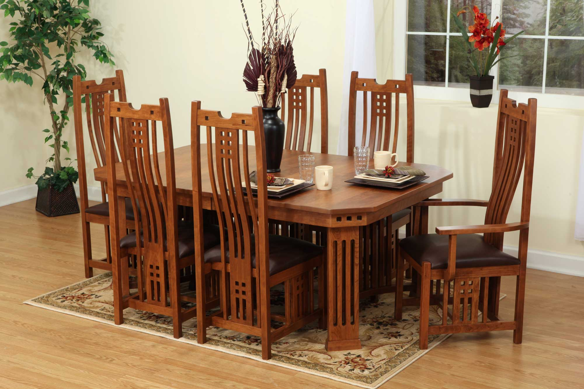9 Pieces Oak Mission Style Dining Room Set With Hexagon Black in Mission Style Living Room Set