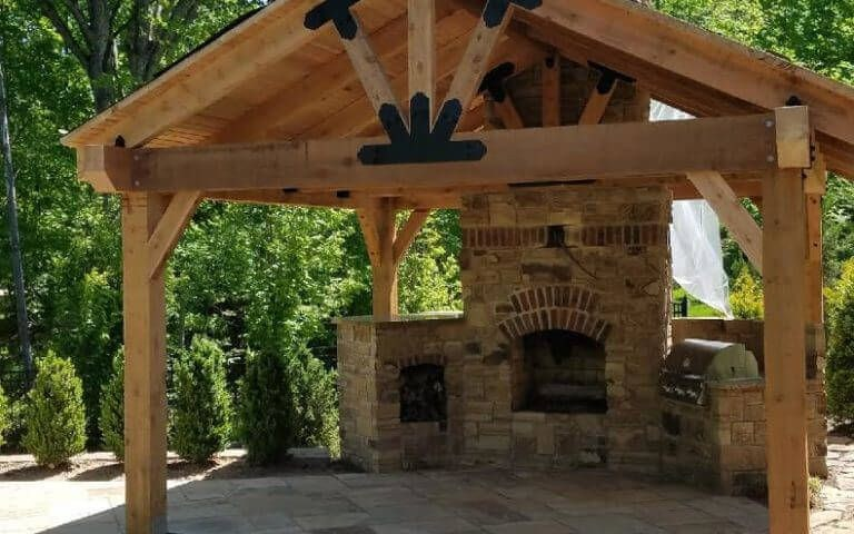A Backyard Pavilion With A Fireplace Serves As A Multi Purpose throughout 15 Smart Initiatives of How to Make Backyard Pavilion Ideas
