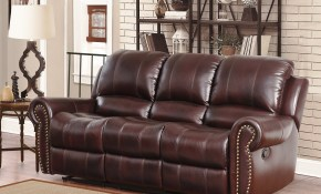 Abson Broadway Top Grain Leather Reclining 3 Piece Living Room Set within Best Living Room Set