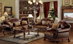 Acme Furniture Dresden Living Room Set In Brown Pu And Chenille Cherry Oak within 11 Smart Tricks of How to Craft Deals On Living Room Sets