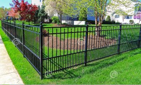 Black Metal Fence Stock Photo Image Of Strong Home 53483640 throughout Backyard Metal Fence