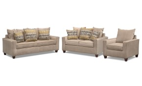 Bryden Queen Memory Foam Sleeper Sofa Loveseat And Chair Set in Living Room Sleeper Sets