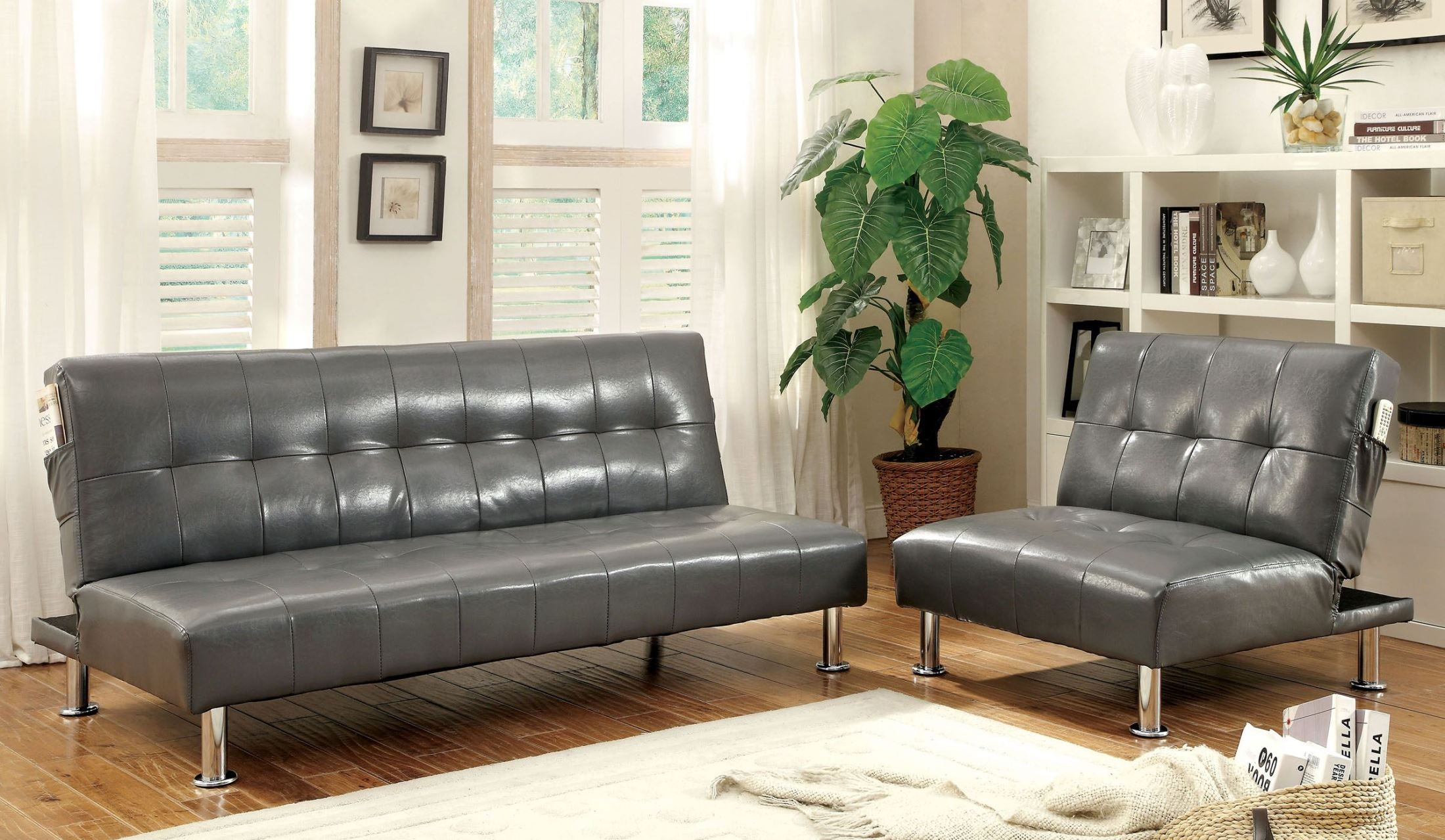 Bulle Gray Leatherette Living Room Set throughout 10 Genius Concepts of How to Make Futon Living Room Set