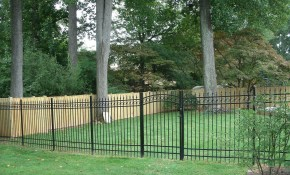 Cool Backyard Iron Fence Lotsa Fence Options throughout Backyard Metal Fence