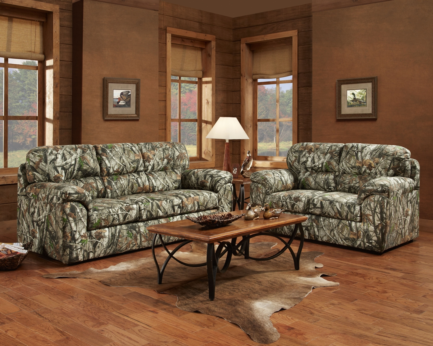 Cozy Brown Living Room Interior Design With Mossy Oak Camouflage inside Camouflage Living Room Sets