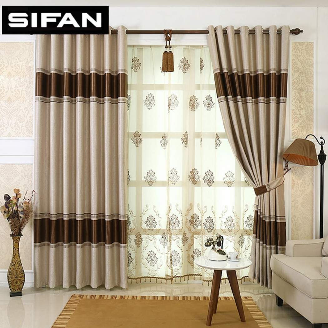 European Style Stripes Jacquard Blackout Curtains For The Bedroom For Living Room Decorative Window Modern Curtains Drapes in Modern Window Treatments For Bedroom