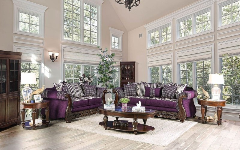 Furniture Of America Emilia Living Room Set In Purplesilver within 12 Clever Ways How to Upgrade Purple Living Room Set