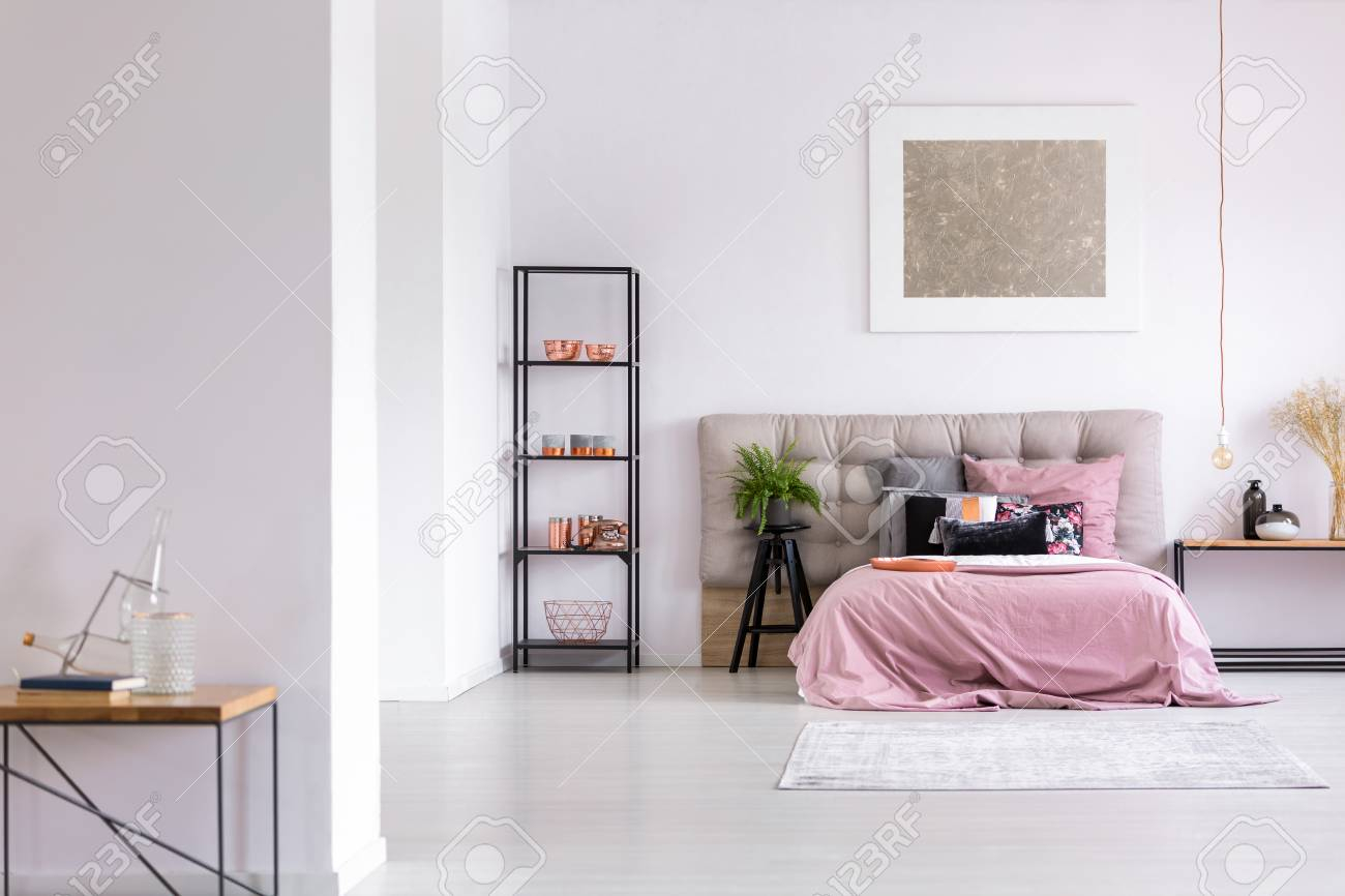 Glass Bottle On Table In Modern Bedroom With Copper Accessories for Modern Bedroom Accessories