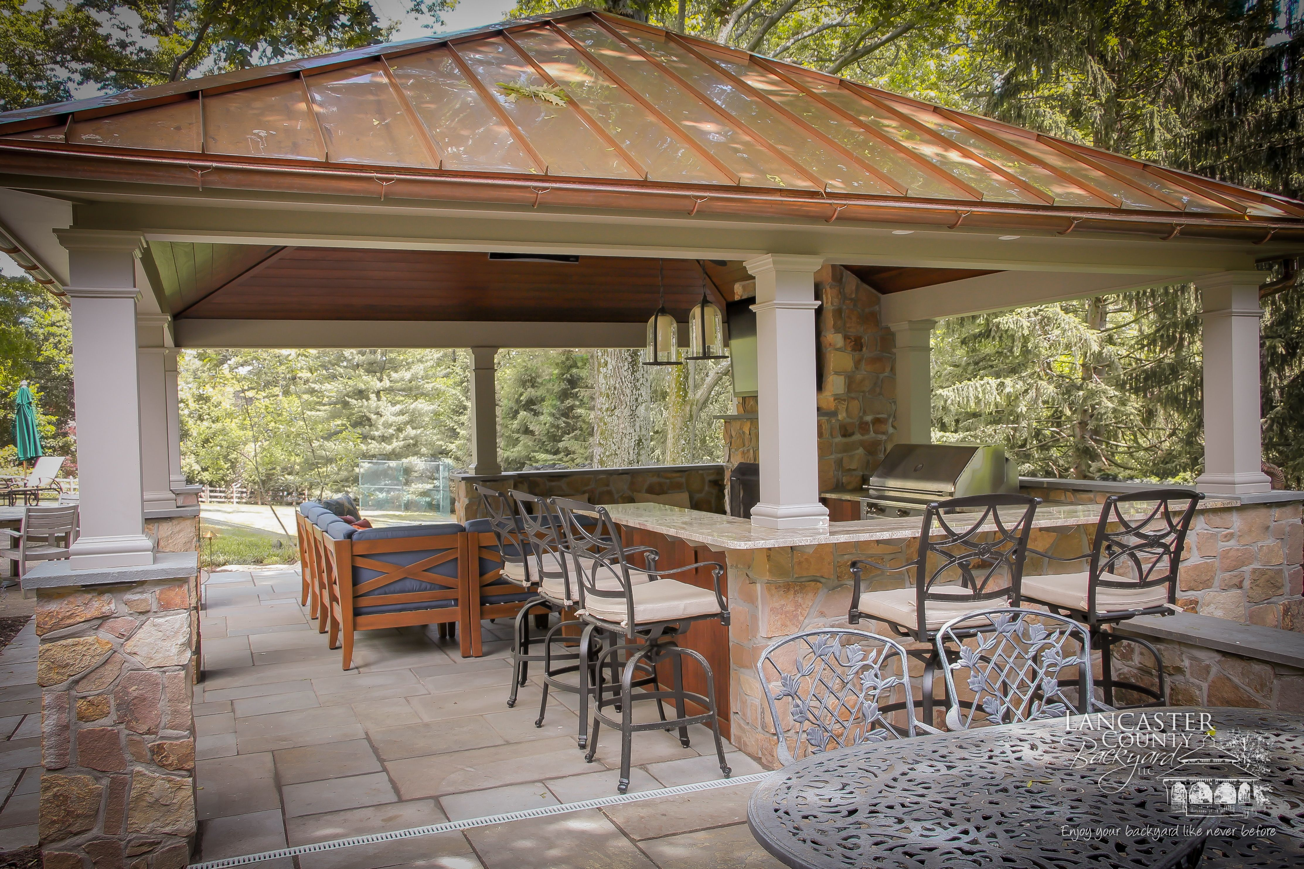 Gorgeous Outdoor Pavilion For High End Backyard Living Space with Backyard Pavilion Ideas