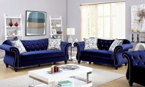 Jolanda Blue Flannelette Fabric Living Room Set with Fabric Living Room Sets