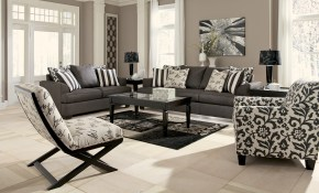 Levon Charcoal Accent Chair with regard to Suede Living Room Sets