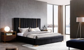 Modrest Evonda Modern Black Velvet Brass Bed with regard to 13 Smart Initiatives of How to Build Modern Black Bedroom