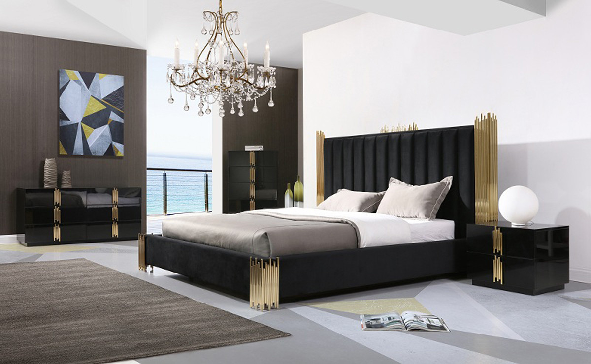 Modrest Token Modern Black Gold Bedroom Set pertaining to 13 Smart Initiatives of How to Build Modern Black Bedroom