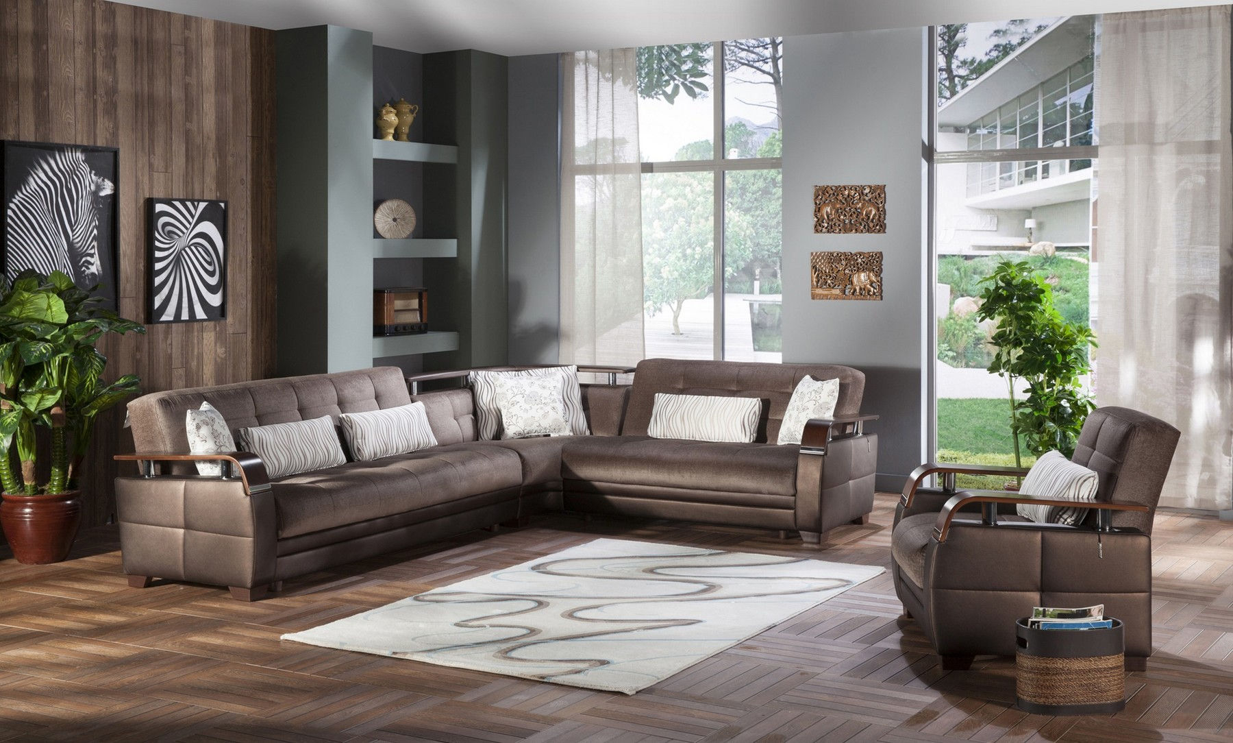 Natural Prestige Brown Sectional Chair for Istikbal Living Room Sets