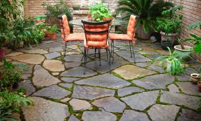 Outdoor Small Backyard Landscaping Ideas With Installing Flagstone inside Simple Patio Ideas For Small Backyards