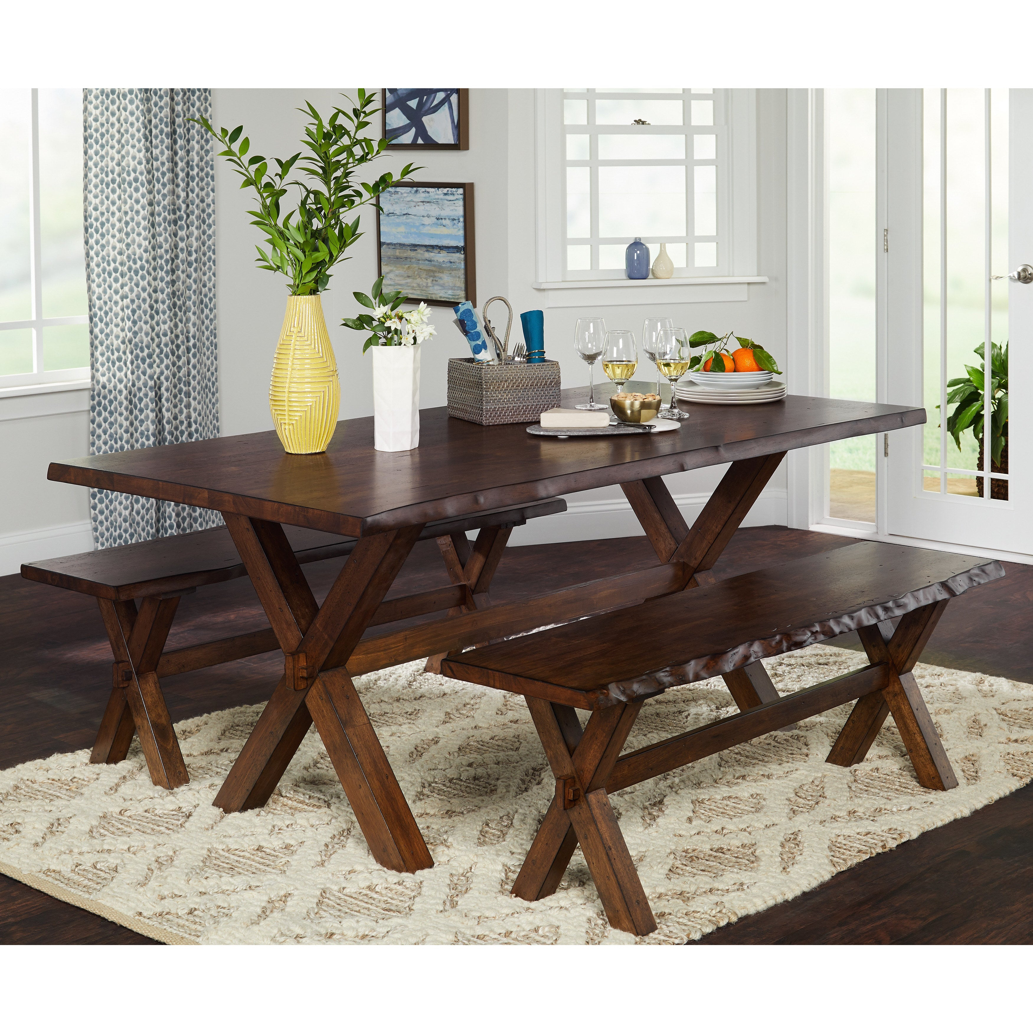 Simple Living 3 Piece Mandeville Live Edge Solid Wood Dining And Bench Set regarding 13 Some of the Coolest Ways How to Build Wooden Living Room Set