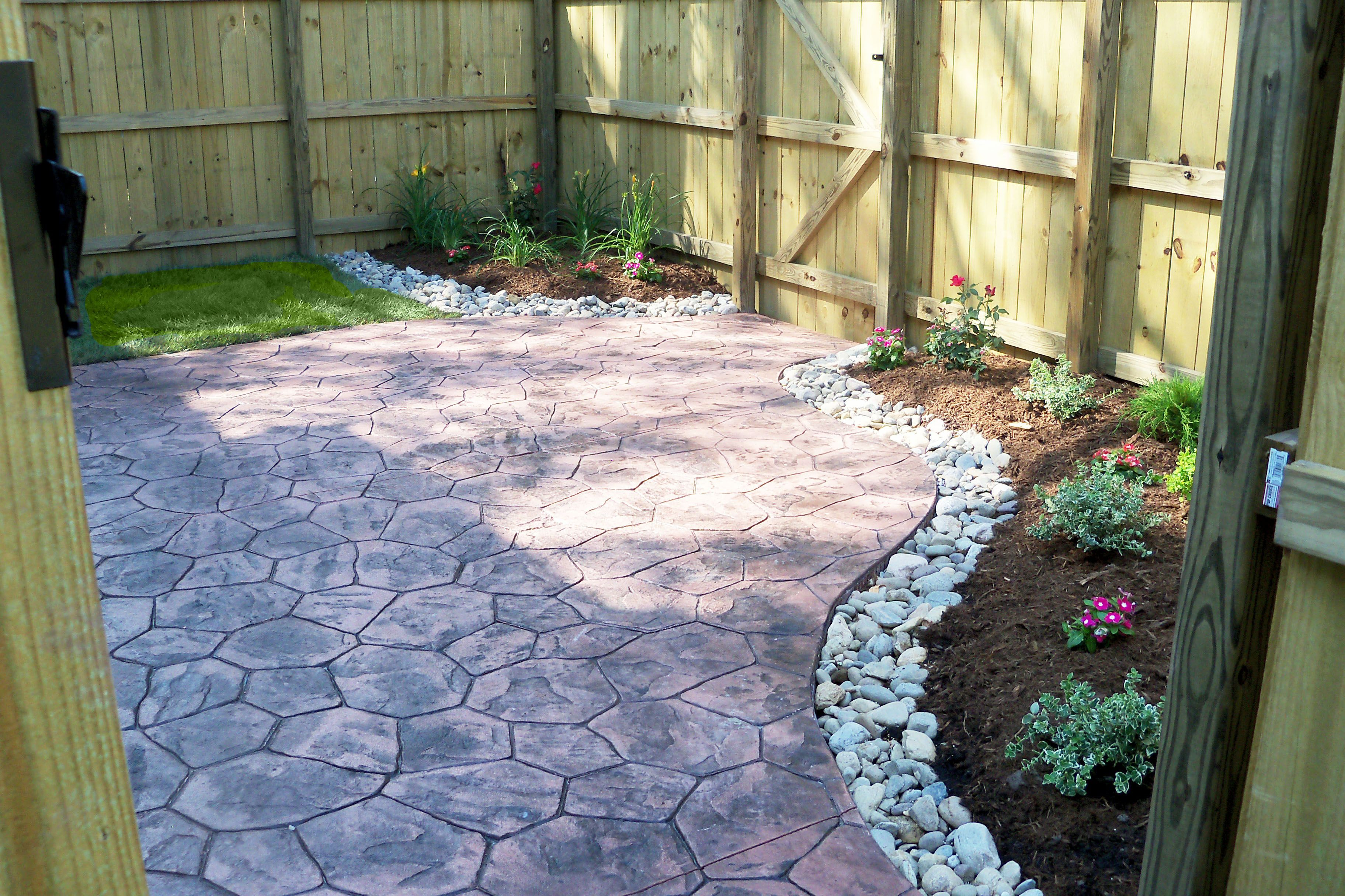 Townhouse Backyard With Stamped Concrete Patio And Simple within 11 Genius Tricks of How to Make Townhouse Backyard Landscaping