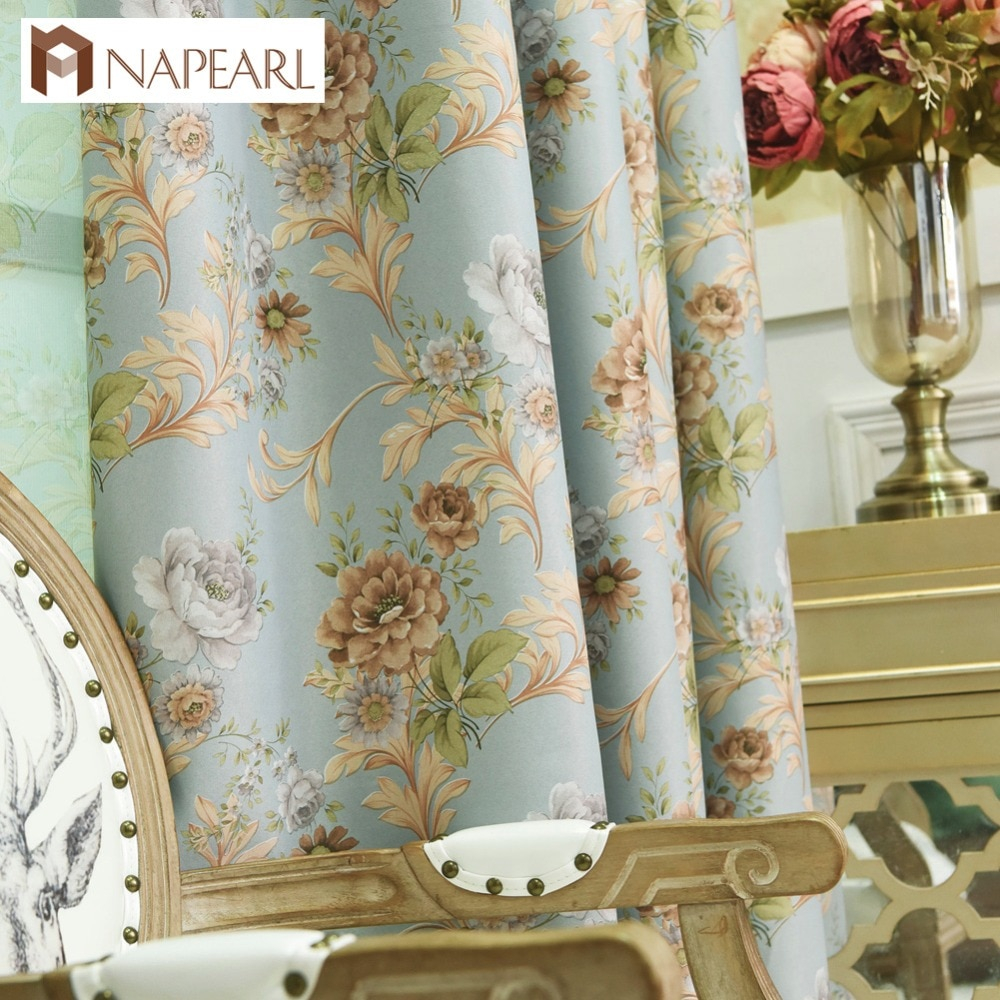 Us 433 49 Offblackout Curtains Floral Bedroom Window Treatment Blue Pink Window Shade Modern Curtain Short Living Room Drapery Kitchen In Curtains inside Modern Window Treatments For Bedroom