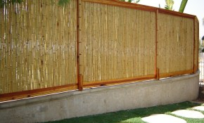8 Ft W Rolled Bamboo Fence Panel in Backyard X Scapes Reed Fencing