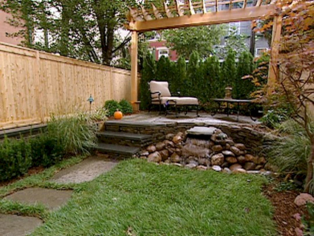 Small Backyard Patio Design Ideas With Small Waterfal Decoor pertaining to 13 Clever Concepts of How to Improve Patio Design Ideas For Small Backyards