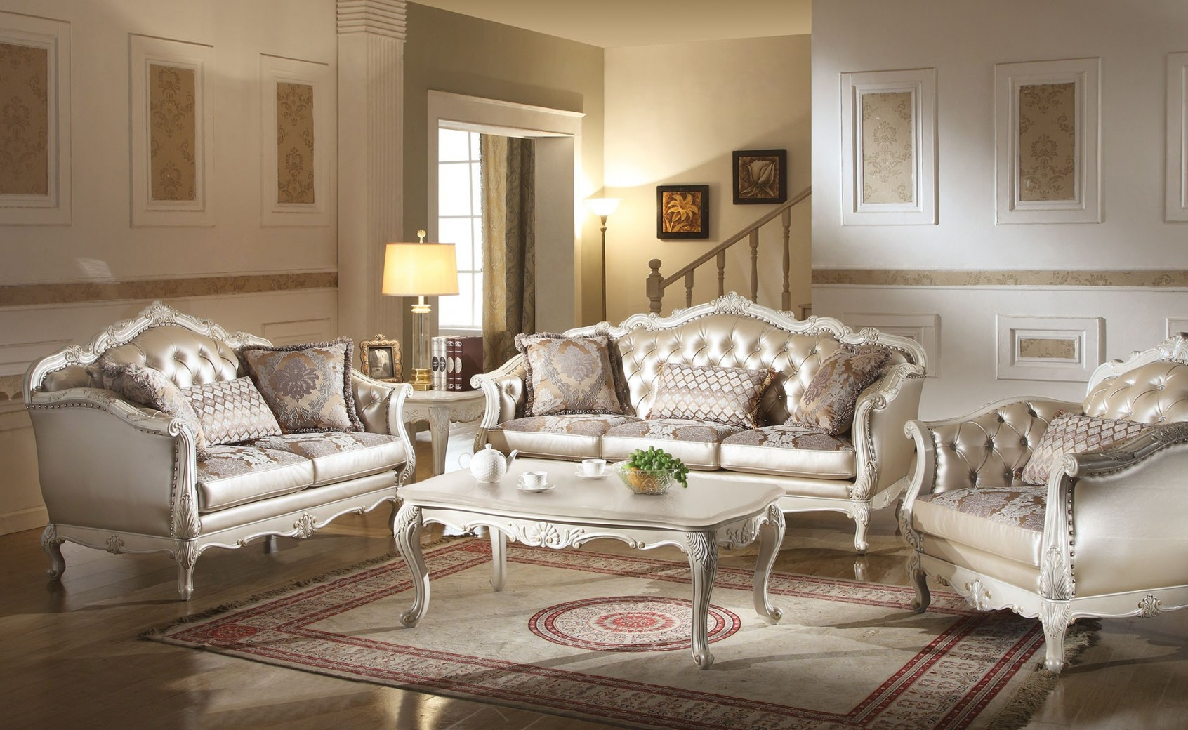53540 Acme Chantelle Collection Living Room Set Pearl White Finish Rose Golden Pu for 12 Clever Ways How to Build All White Living Room Set