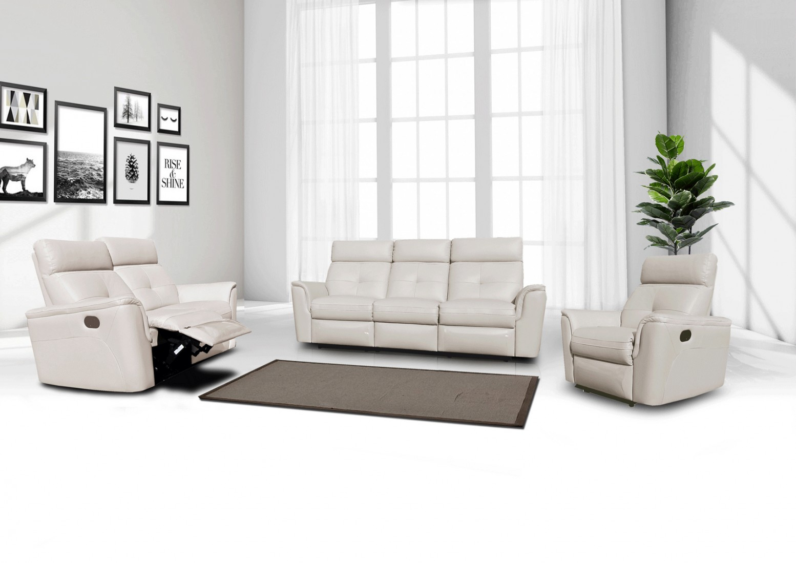 8501 Leathereco Leather Living Room Set Wrecliner pertaining to White Leather Living Room Sets